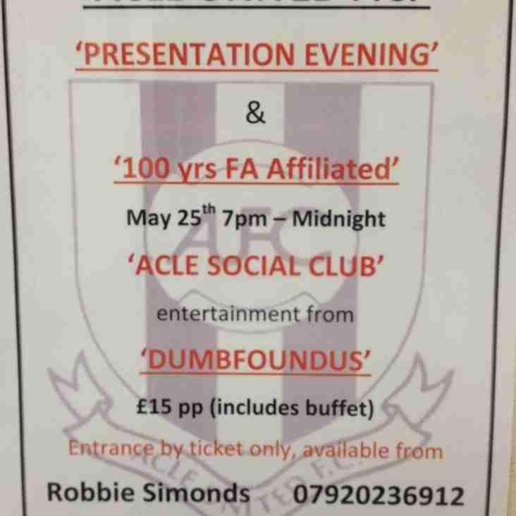 Acle United FC Presentation Evening