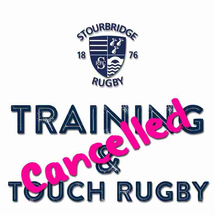 Training Cancelled: Wednesday 23 November 2016