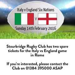 Italy vs England - 2 spare tickets