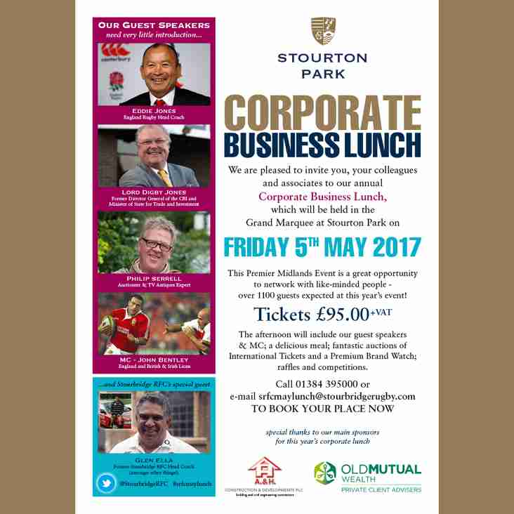 Announcing the Stourton Park Corporate Lunch for May 2017