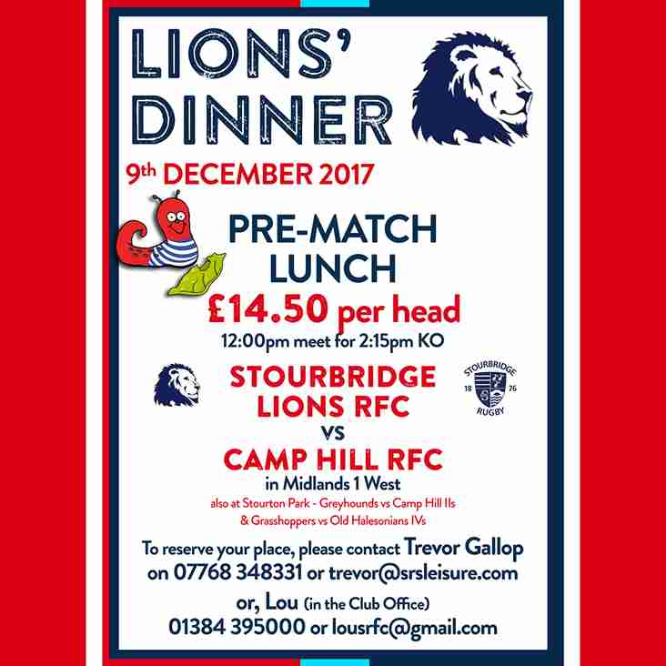 Lions' Pre-Match Lunch