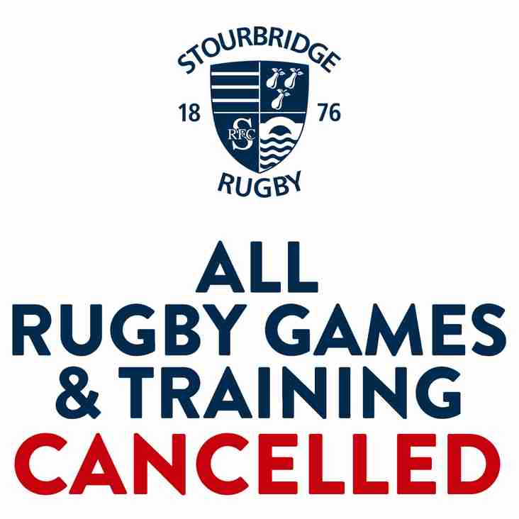 ALL TRAINING & GAMES CANCELLED