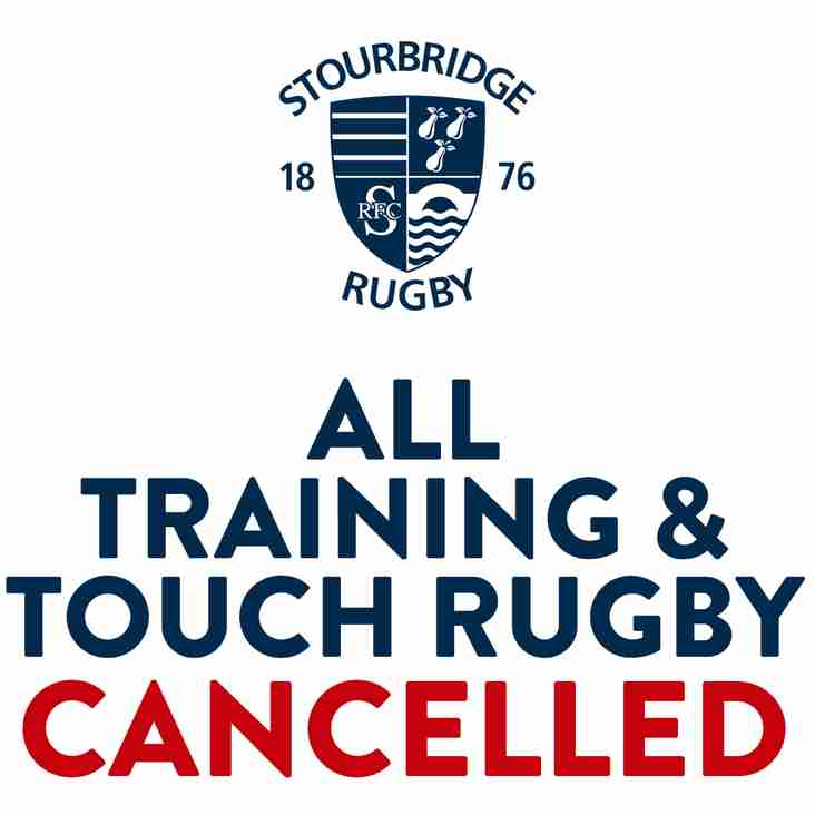 ALL Training and Touch Rugby - CANCELLED