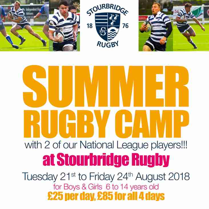 SUMMER RUGBY CAMP at Stourbridge Rugby