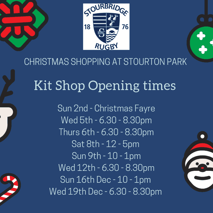 Kit Shop Opening Times until Christmas
