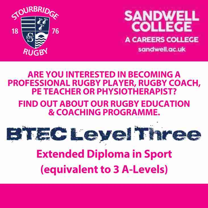 Stourbridge RFC and Sandwell College in Partnership