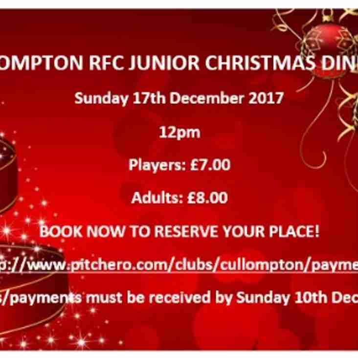 CRFC Junior Christmas Dinner - BOOKINGS NOW OPEN!