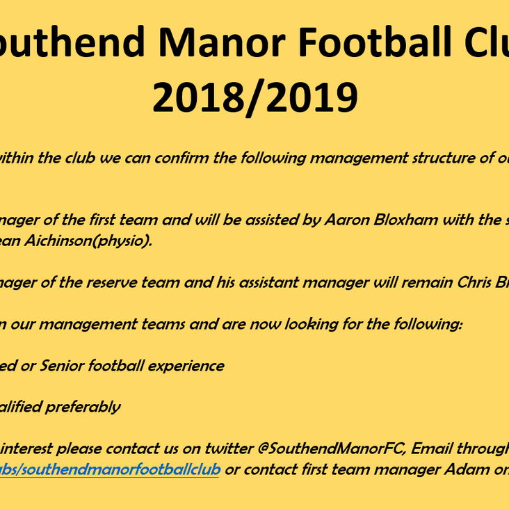 Management Announcement<