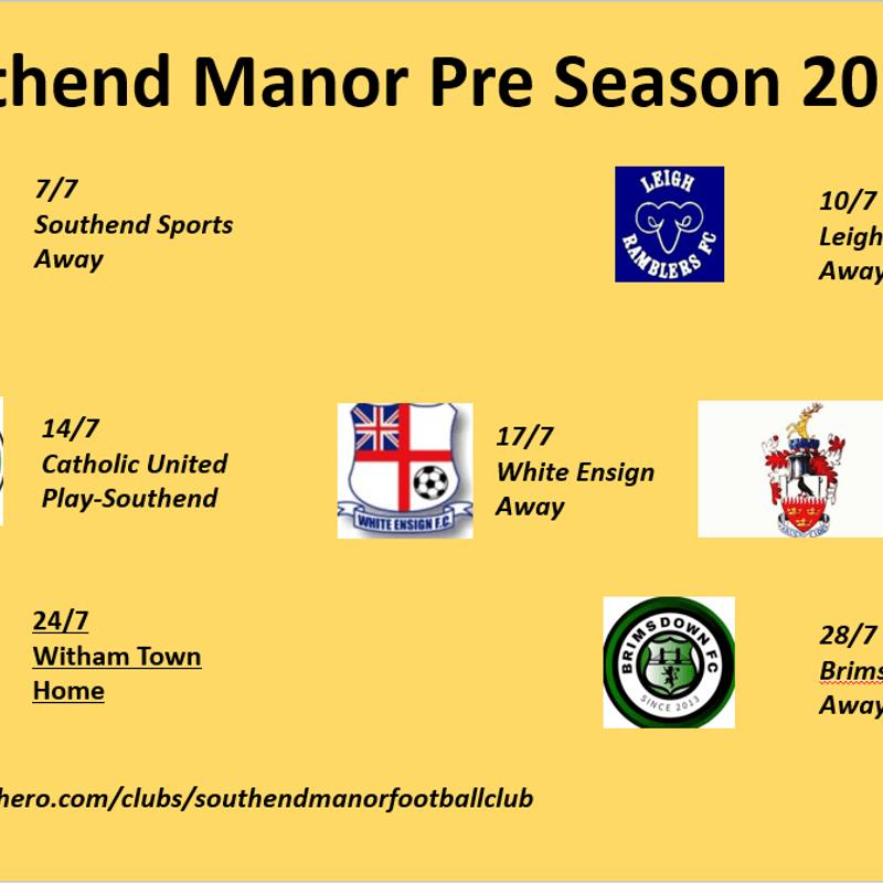 Updated Pre season games