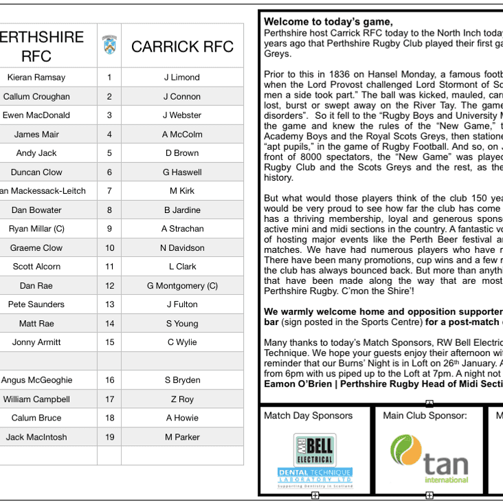 Match Day Programme vs Carrick RFC