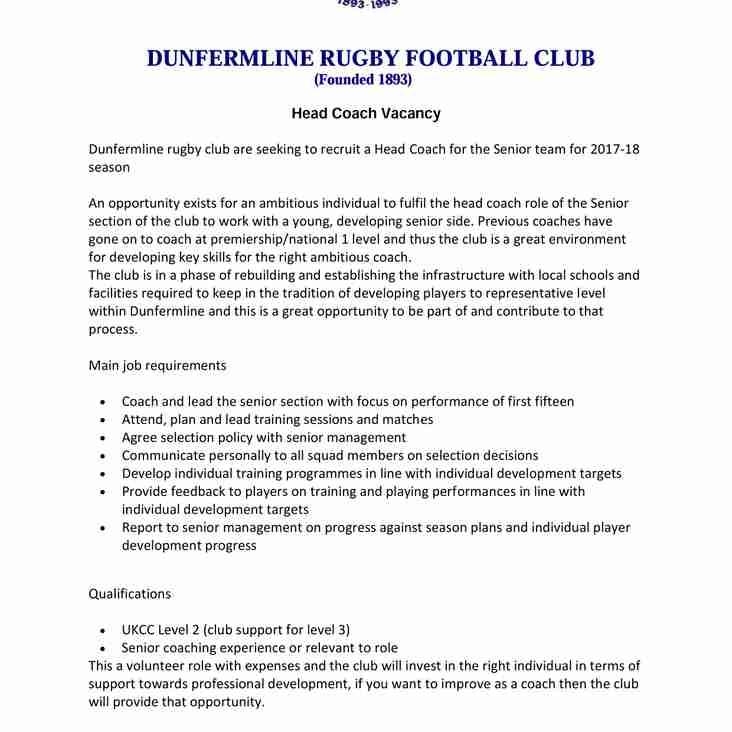 Head Coach Vacancy