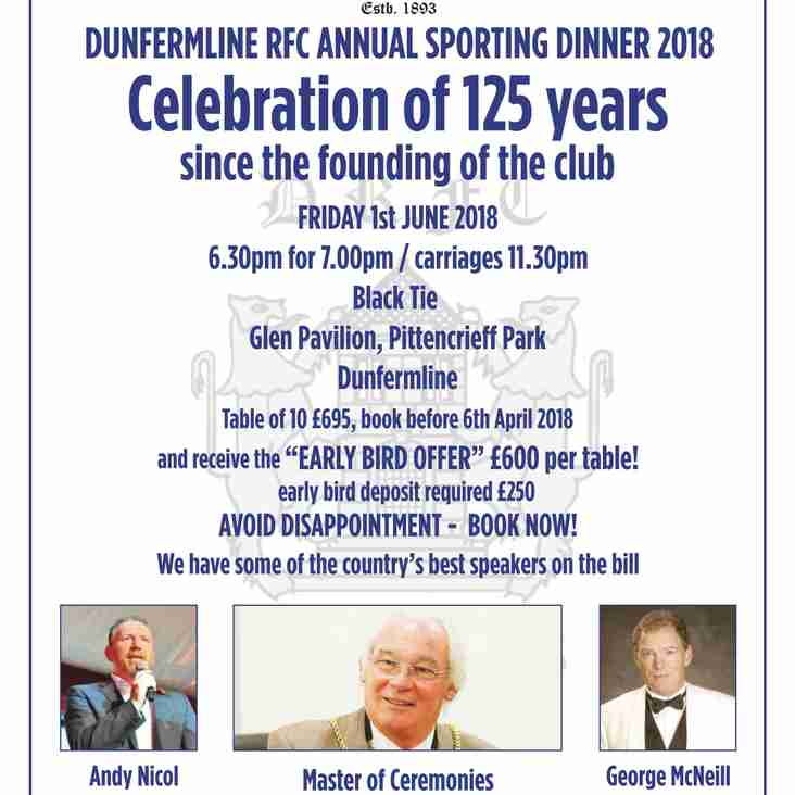 Book your place now - Dunfermline RFC Sporting Dinner 2018