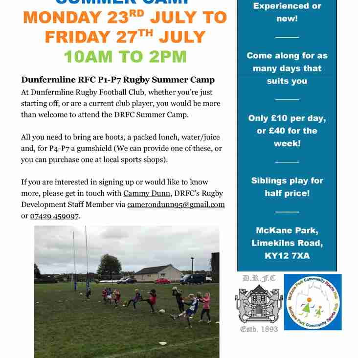 Dunfermline RFC P1-P7 Rugby Summer Camp