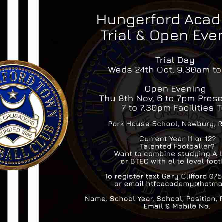 ACADEMY TRIAL & OPEN EVENING DATES