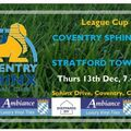 League Cup for Under 18s - Stratford Town to visit on Thursday