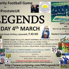 Charity Football game for@ProstateUK. Friday 4th March KO 7.45pm
