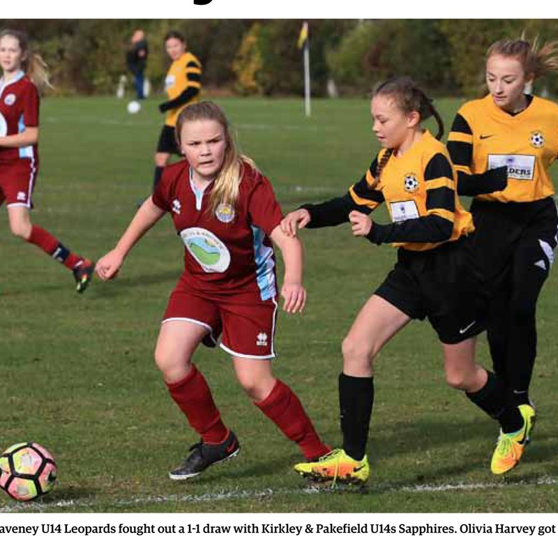 U14 Leopards in Thursday edition of the EDP and this weeks Lowestoft Journal