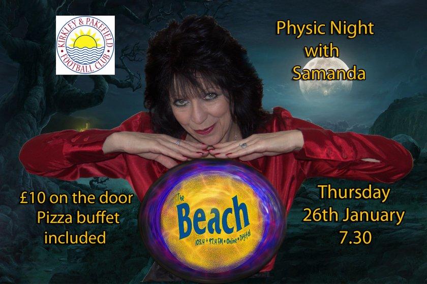 KPFC Psychic night with Samanda Thursday January 26th 7.30 Start