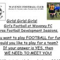 Girl's Football at Waveney FC.  Free Football Development Sessions.