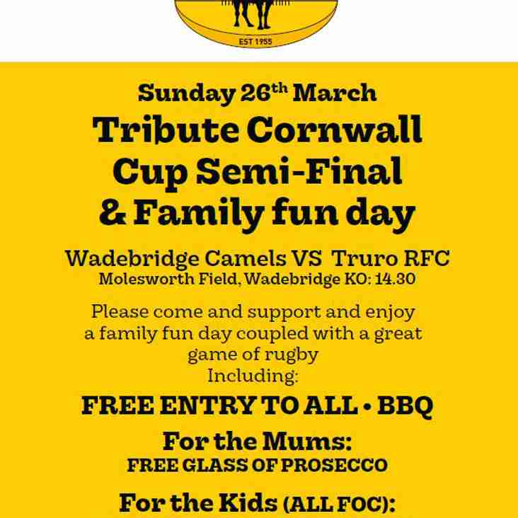 Cup semi final day & Family fun day TODAY Sunday 26th.
