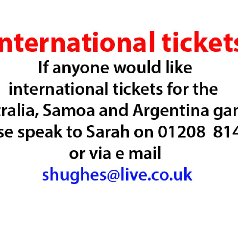 International tickets available......