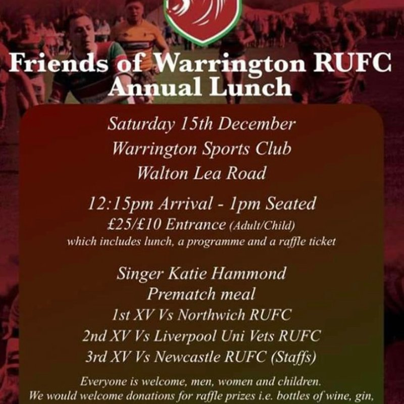 Friends of Warrington RUFC Annual Christmas Lunch