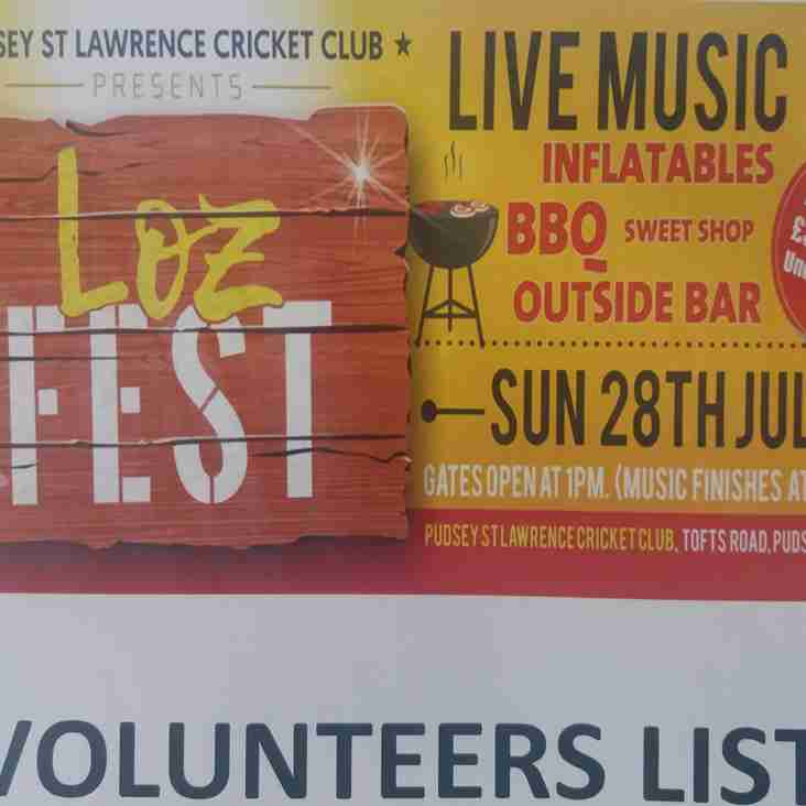 LozFest Volunteers Rota Now Up