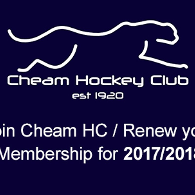 Join Cheam HC / Renew your Membership for 2017/2018