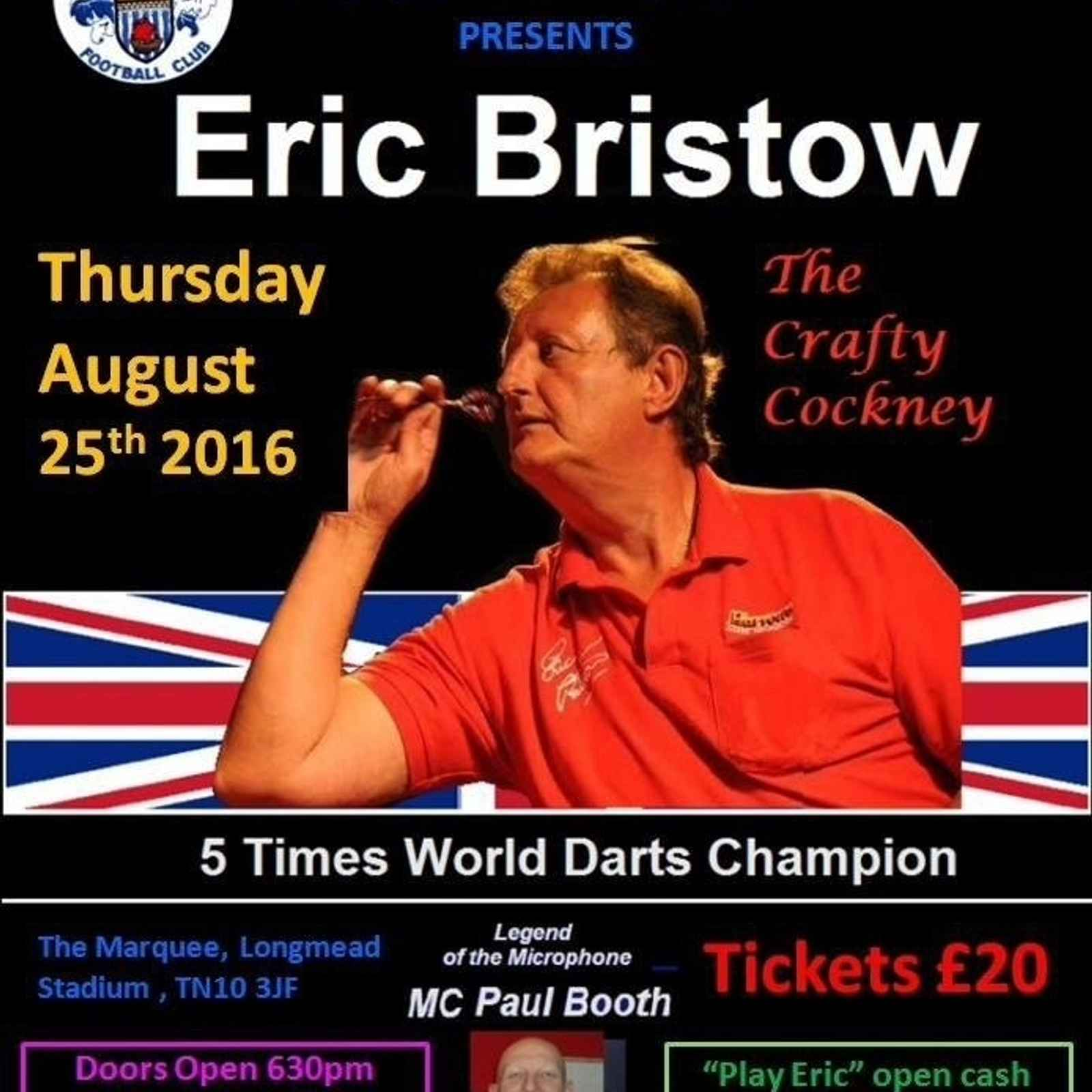 An Evening with Eric Bristow, Thursday 25th August