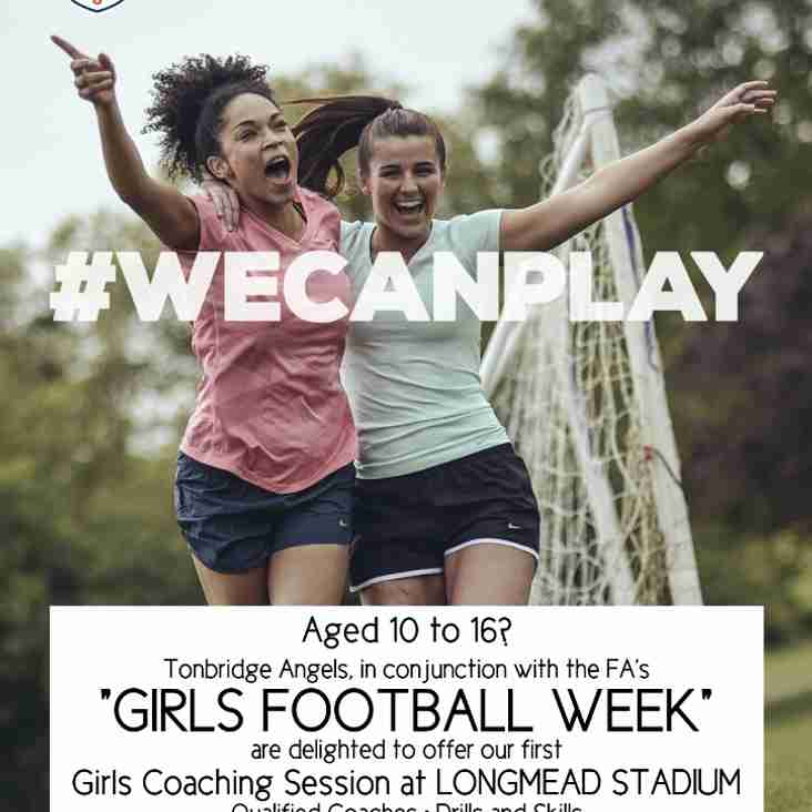 Girls Football Coaching Session at Longmead home of Tonbridge Angels