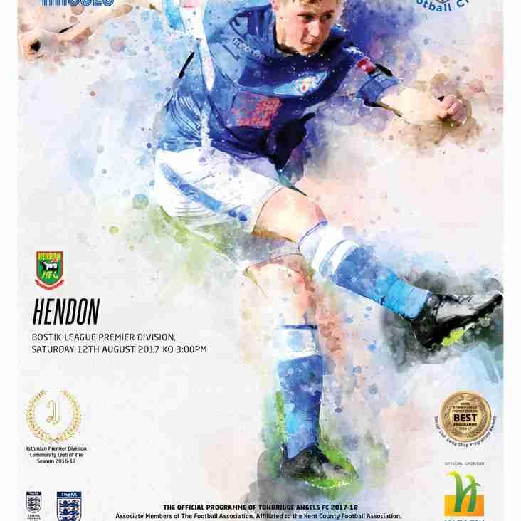 Angels v Hendon : 12.08.17. : Programme Preview