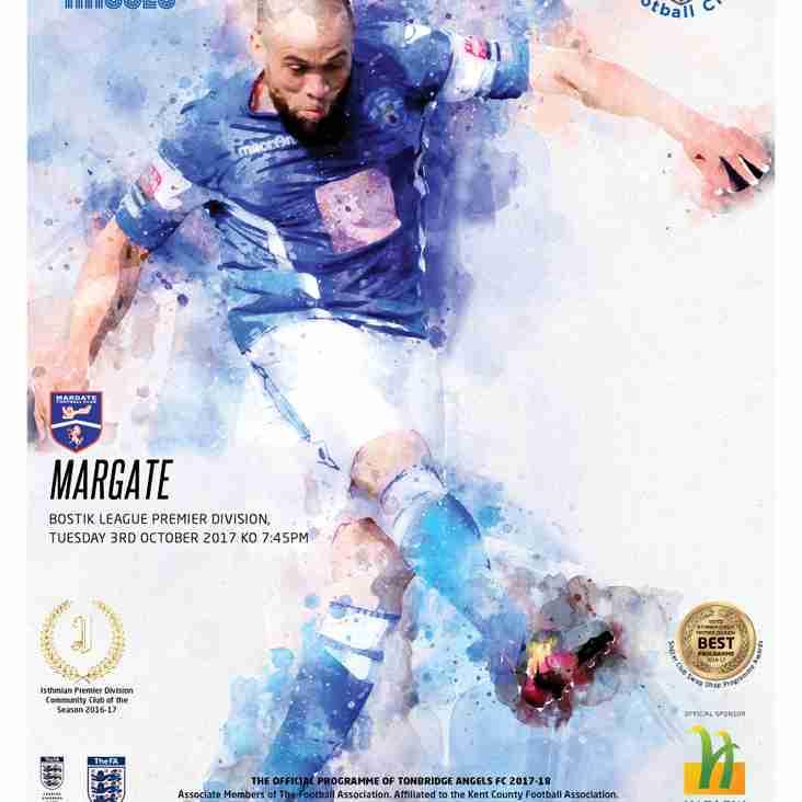 Angels v Margate : 03.10.17. : Programme Preview