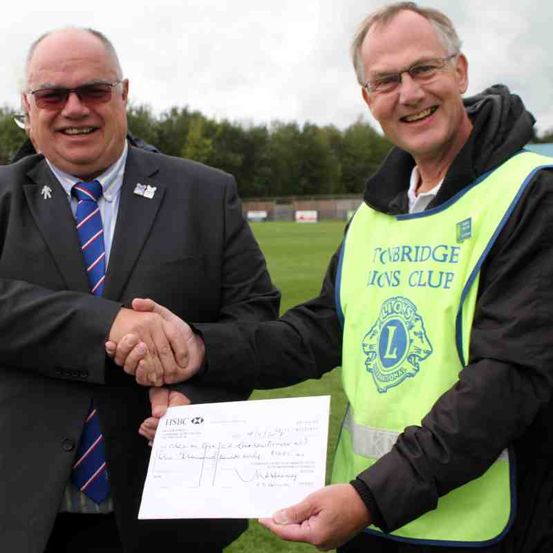Cheque presentation by Tonbridge Lions  for Football Fighback 07.10.17.