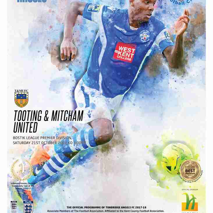 Angels v Tooting & Mitcham Utd. Programme Preview
