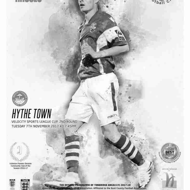 Angels v Hythe Town  : 07.11.17. Velocity Sports League Cup : Programme Preview