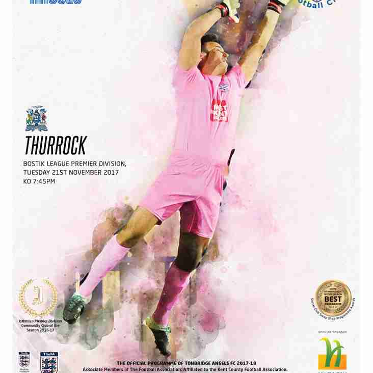 Angels v Thurrock : 21.11.17. : Programme Preview