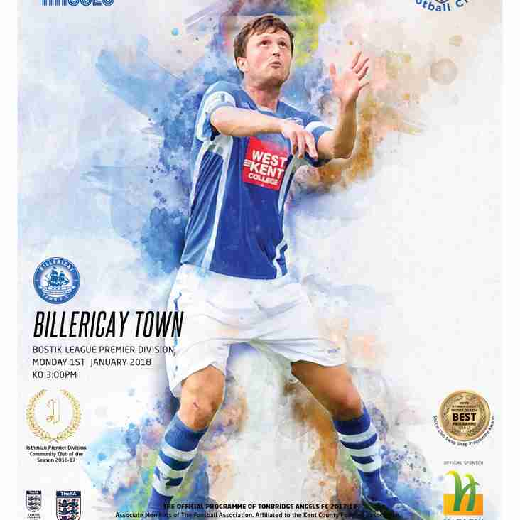 Angels v Billericay Town : 01.01.18. : Programme Preview