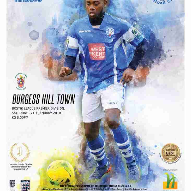 Angels v Burgess Hill Town : 27.01.18. : Programme Preview