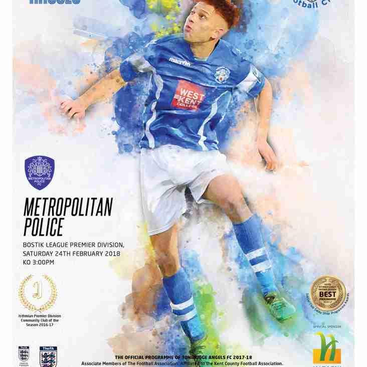 Angels vs Metropolitan Police : 24.02.18. : Programme Preview