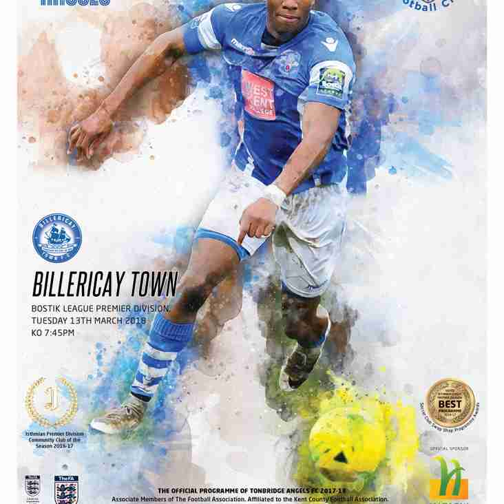 Angels v Billericay Town : 22.03.18. Programme Preview