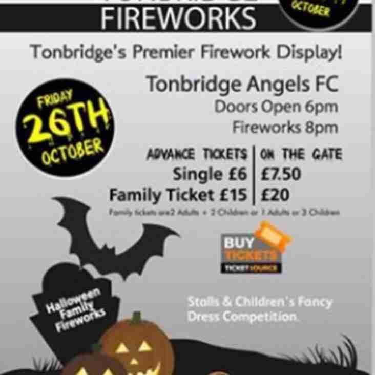 Tonight! Halloween Fireworks at Longmead, home of Tonbridge Angels
