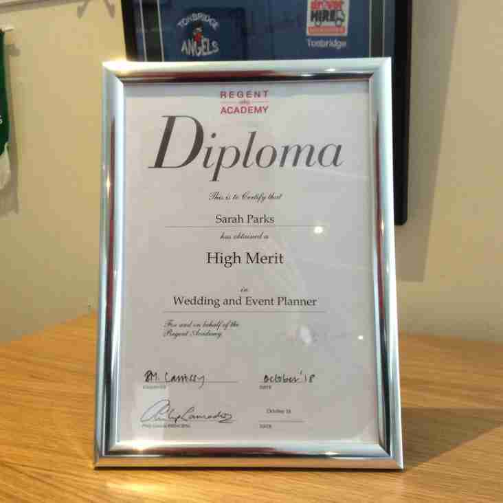 Sarah Parks awarded High Merit diploma in Event Planning