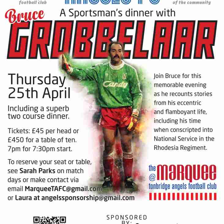 Sportsman's Dinner - Bruce Grobbelaar - The Marquee @ Tonbridge Angels