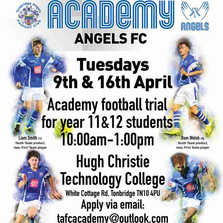 Angels Academy Open Trials 9th and 16th April