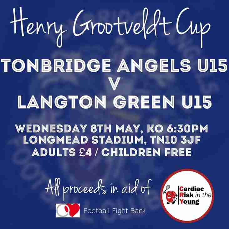 Today! Under 15s to play Langton Green in the Grootveldt Cup KO 6:30pm