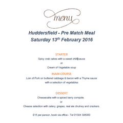 Hudddersfield  pre-match meal menu
