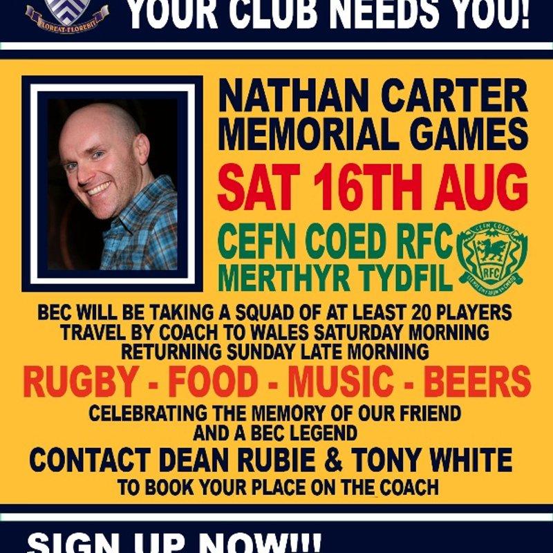 Nathan Carter Memorial XV games at Cefn Coed RFC