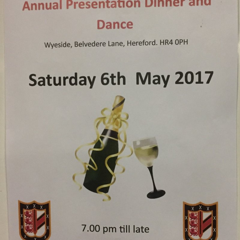 Club Dinner Saturday 6th May at Wyeside.