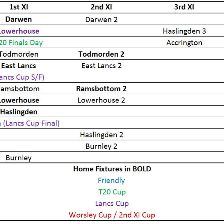 Remaining 2017 Fixtures