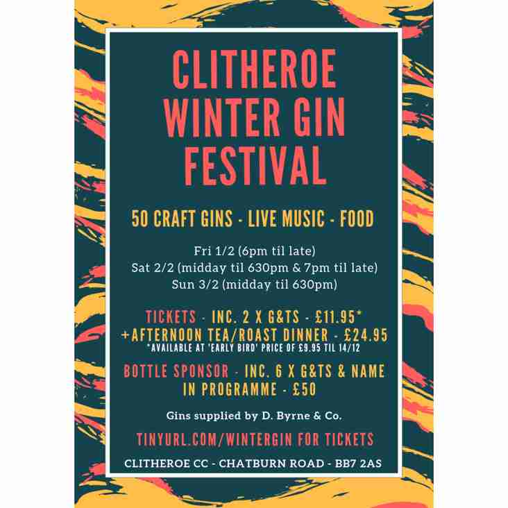 Clitheroe Winter Gin Festival - Sponsors Wanted